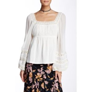 Free People Moonchaser White Peasant Boho Lace Top